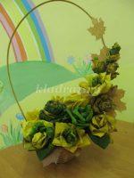 Поделка из листьев корзина с цветами – . . .