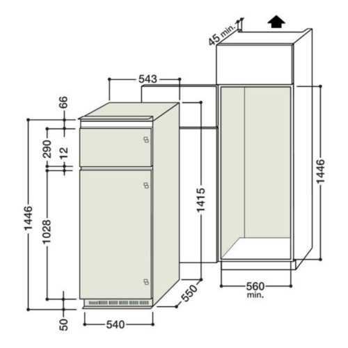 размеры шкаф для встроенного холодильника встраиваемый холодильник